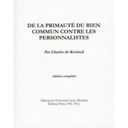 De la primauté du bien commun contre les personnalistes - Charles de Koninck