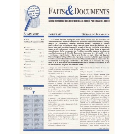 Faits & Documents - n°420 - du 15 au 30 septembre 2016