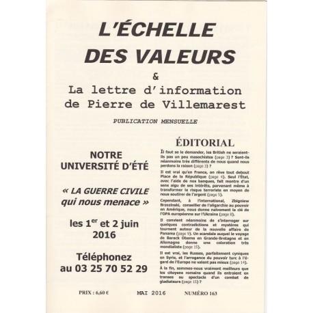 L'échelle des valeurs - Mai 2016