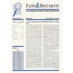 Faits & Documents - n°427 - du 15 décembre au 31 janvier 2016