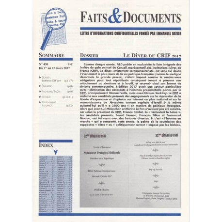 Faits & Documents - n°436 - du 1er au 15 mars 2017