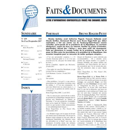 Faits & Documents - n°439 - du 15 au 30 septembre 2017