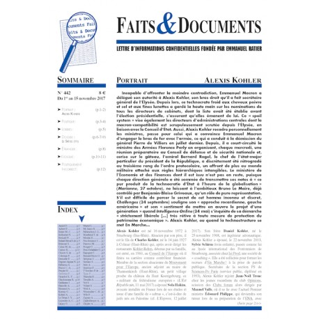 Faits & Documents n°442 - Du 1er au 15 novembre 2017