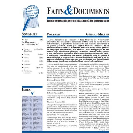 Faits & Documents n°443 - Du 15 novembre au 15 décembre 2017