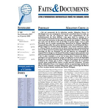 Faits & Documents  - n°444 - Du 15 décembre 2017 au 15 janvier 2018.