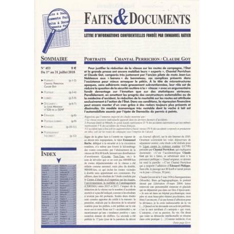 Faits & Documents n°453 - Du 1er au 31 juillet 2018