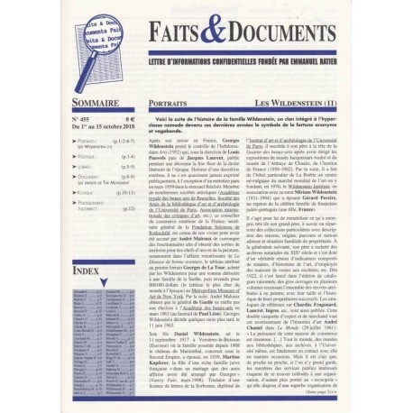 Faits & Documents n°455 - Du 1er au 15 octobre 2018