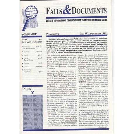 Faits & Documents n°456 - Du 15 au 31 octobre 2018