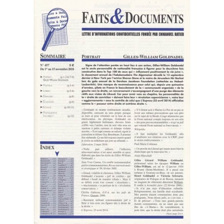Faits & Documents n°457 - Du 1er au 15 novembre 2018
