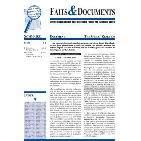 Faits & documents n°489